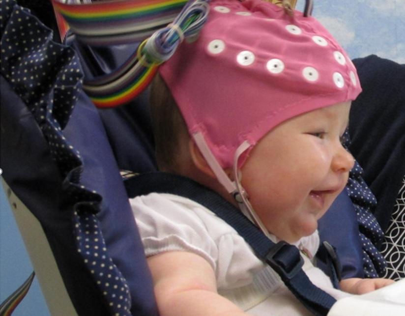 L'étude, la première à utiliser l'EEG chez le petit enfant, montre comment l'activité cérébrale du bébé est corrélée à l'humeur, au type d'alimentation et finalement aux caractéristiques du contact entre la  mère-enfant (Visuel Florida Atlantic University).