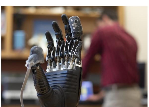 Ce nouvel e-derme rétablit le sens du toucher et, dans un contexte plus évolutif redonne la sensation de douleur aux mains prothétiques.