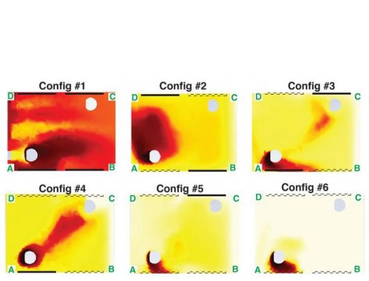 Les configurations dans lesquelles certaines fenêtres, mais pas toutes, sont abaissées, donnent des résultats parfois contre-intuitifs (Visuel Breuer lab / Brown University)
