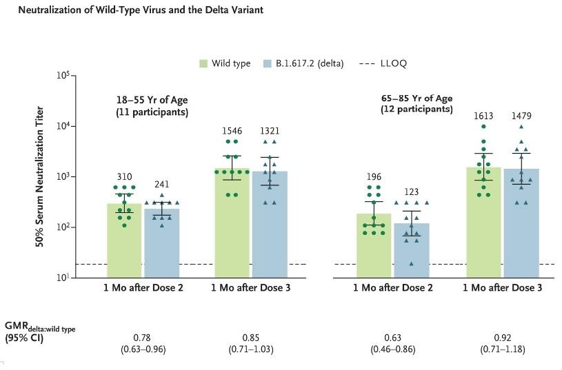 Le niveau de protection 1 mois après la 3è dose est estimé à 85% contre le variant delta  (comme la souche d'origine) chez les jeunes adultes et de 92% chez les adultes plus âgés (Visuel NEJM).