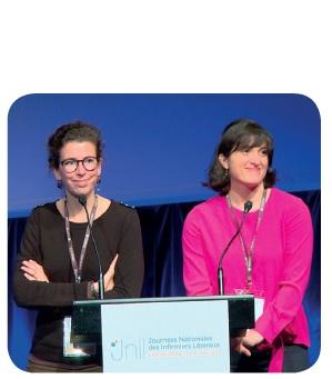Marguerite Nicodeme (à gauche sur visuel ci-contre), Infirmière référente Unité de Plaie et Cicatrisation, Institut Curie (Paris) et Amélie Chopin (à droite sur visuel ci-contre), IDE au Pôle St- Hélier de Rennes.