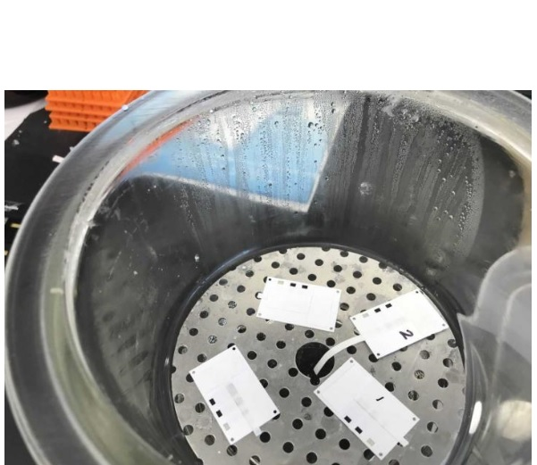 Après mise en contact avec des fluides corporels infectés, la bandelette est connectée à un moniteur d'ordinateur qui affiche une gamme claire de réponses électrochimiques précisant la gravité de l'infection.