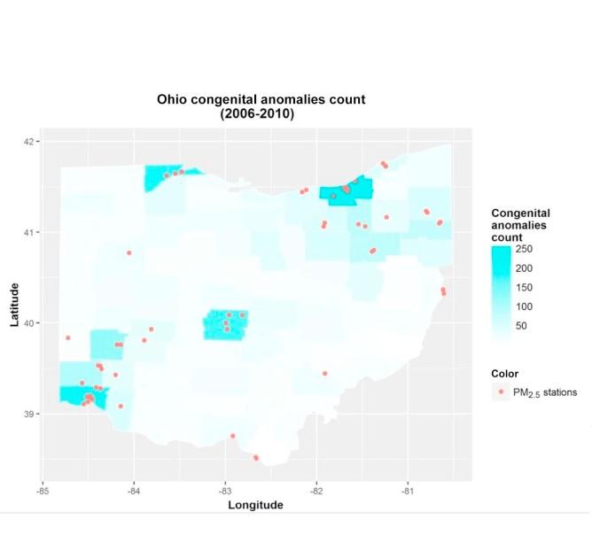 Les naissances avec anomalie congénitale sont associées à un niveau d'exposition moyen aux PM2,5 plus élevé