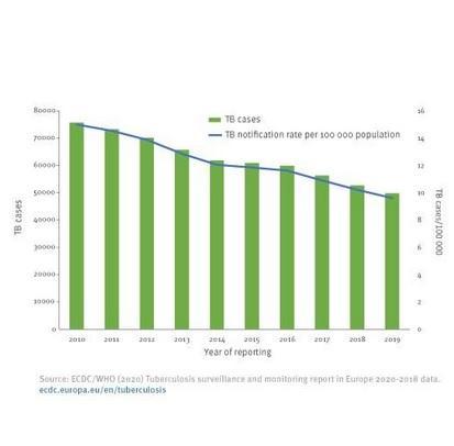 Si le nombre de cas semble diminuer, seuls 77% des patients ont pu terminer leur traitement en 2019, bien en deçà du taux mondial de 85%.(Visuel ECDC)